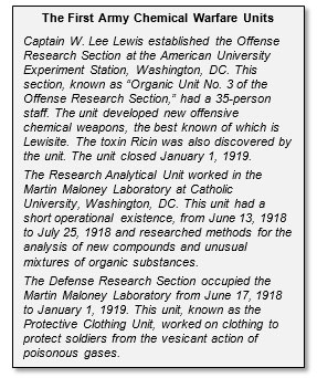 The First Army Chemical Warfare Units Captain W. Lee Lewis established the Offense Research Section at the American University Experiment Station, Washington, DC. This section, known as ?Organic Unit No. 3 of the Offense Research Section,? had a 35-person staff. The unit developed new offensive chemical weapons, the best known of which is Lewisite. The toxin Ricin was also discovered by the unit. The unit closed January 1, 1919.  The Research Analytical Unit worked in the Martin Maloney Laboratory at Catholic University, Washington, DC. This unit had a short operational existence, from June 13, 1918 to July 25, 1918 and researched methods for the analysis of new compounds and unusual mixtures of organic substances.  The Defense Research Section occupied the Martin Maloney Laboratory from June 17, 1918 to January 1, 1919. This unit, known as the Protective Clothing Unit, worked on clothing to protect soldiers from the vesicant action of poisonous gases.  The Dispersoid Section also had qua