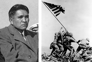 On Feb. 23, 1945 to signal the end of Japanese control, Ira Hayes and five other's raised the U. S. flag atop Mount Suribuchi on the island of Iwo Jima.