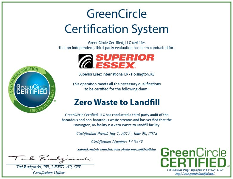 Superior-Essex 17-0373 Green Circle Certificate