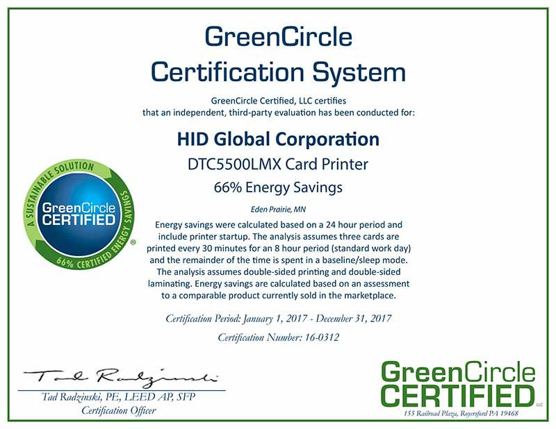 HID Global GreenCircle Certificate