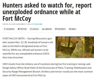 Hunters asked to watch for, report unexploded ordnance while at Fort McCoy